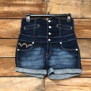 Coogi embroidered high waisted dark wash shorts
